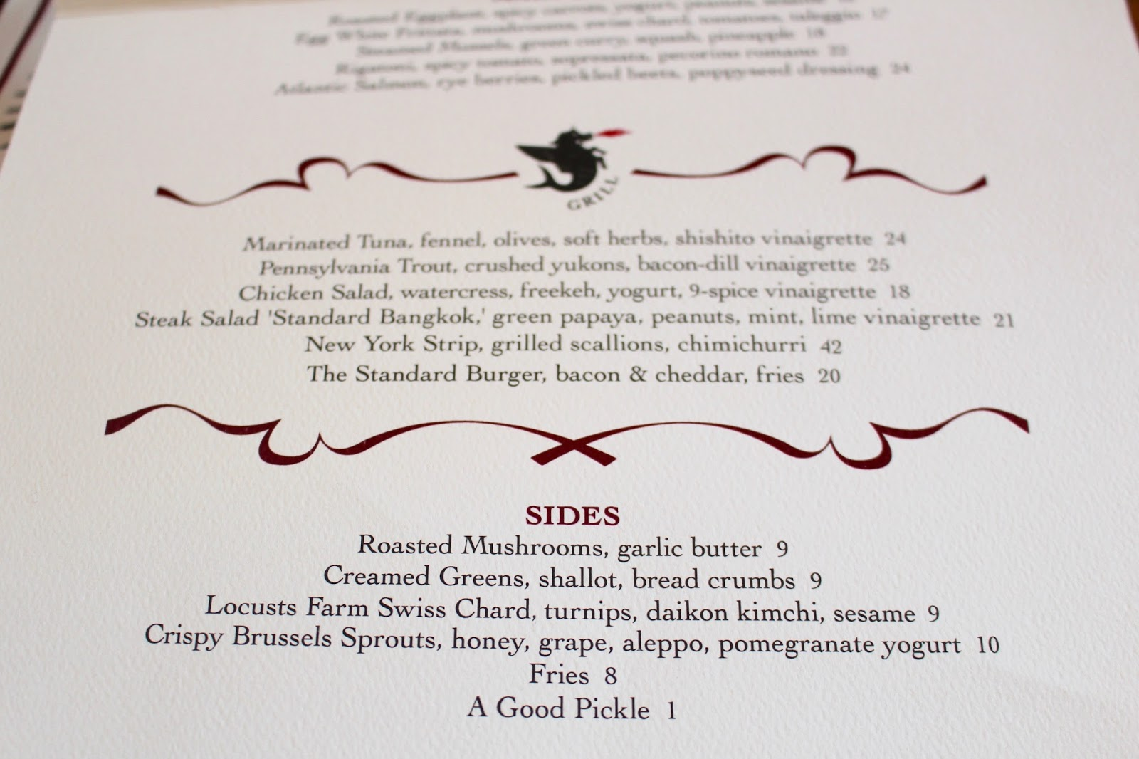 The Standard Grill menu | New York