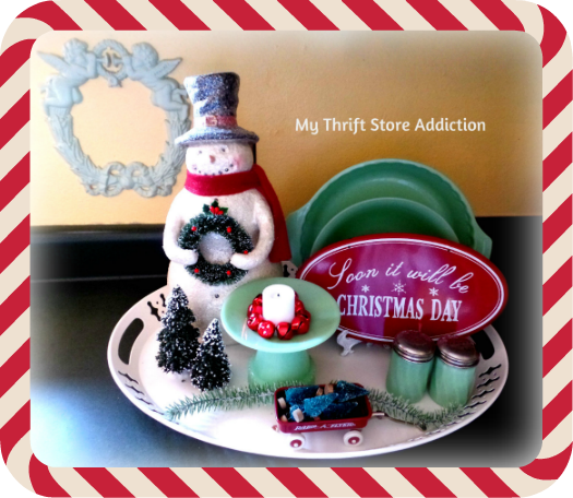 A Holly Jolly Jadeite Kitchen mythriftstoreaddiction.blogspot.com Jadeite, bottle brush trees and vintage inspired snowman