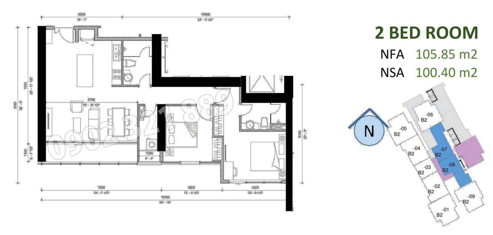 mặt bằng căn hộ sunwah pearl 2 phòng ngủ B2-07 và B2-08