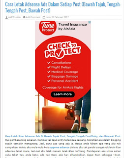 Cara Letak Adsense Ads Dalam Setiap Post (Bawah Tajuk, Tengah-Tengah Post, Bawah Post)