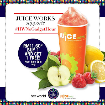 Juice Works Buy 1 Free 1 Promo Her World's No Gadget Hour