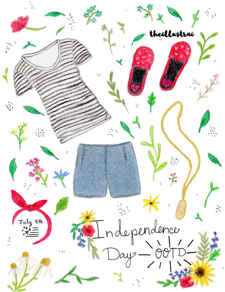 A cute illustration of my 4th of July outfit