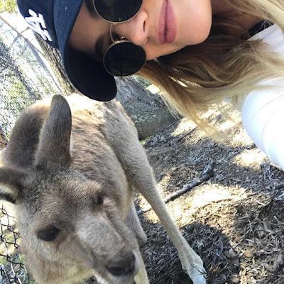 Lucy Hale selfie with kangaroo in Australia