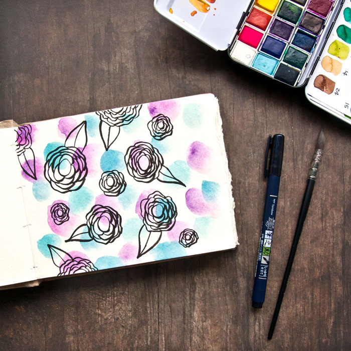 Flower pattern on watercolour dots by Kim Dellow