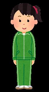 ジャージを着た女性のイラスト(緑)