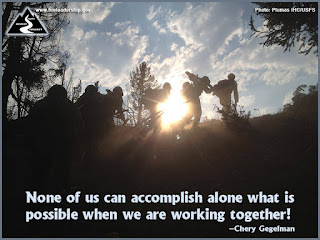 None of us can accomplish alone what is possible when we are working together! - Chery Gegelman  [Photo: Plumas IHC/USFS]