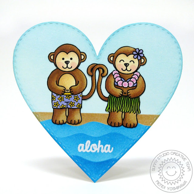 Sunny Studio Stamps Comfy Creatures, Wavy Borders and Stitched Hearts Monkey Hula Girl & Boy Card by Mendi Yoshikawa