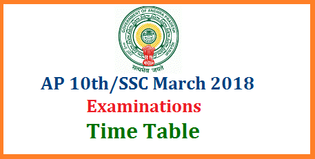 AP 10th/SSC March 2018 Public Exams Time Table Schedule- Download   Andhra Pradesh Board of SSC anounced 10th Class Exams Time Table in AP AP School Secondary Certificate SSC Time for March 2018 for Regular and Private Academic and Vocational Courses in Andhra Pradesh ap-10th-ssc-march-2018-public-exams-time-table-bse-schedule-download