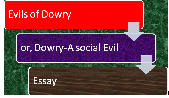 Evils of dowry or, Dowry- A social Evil essay