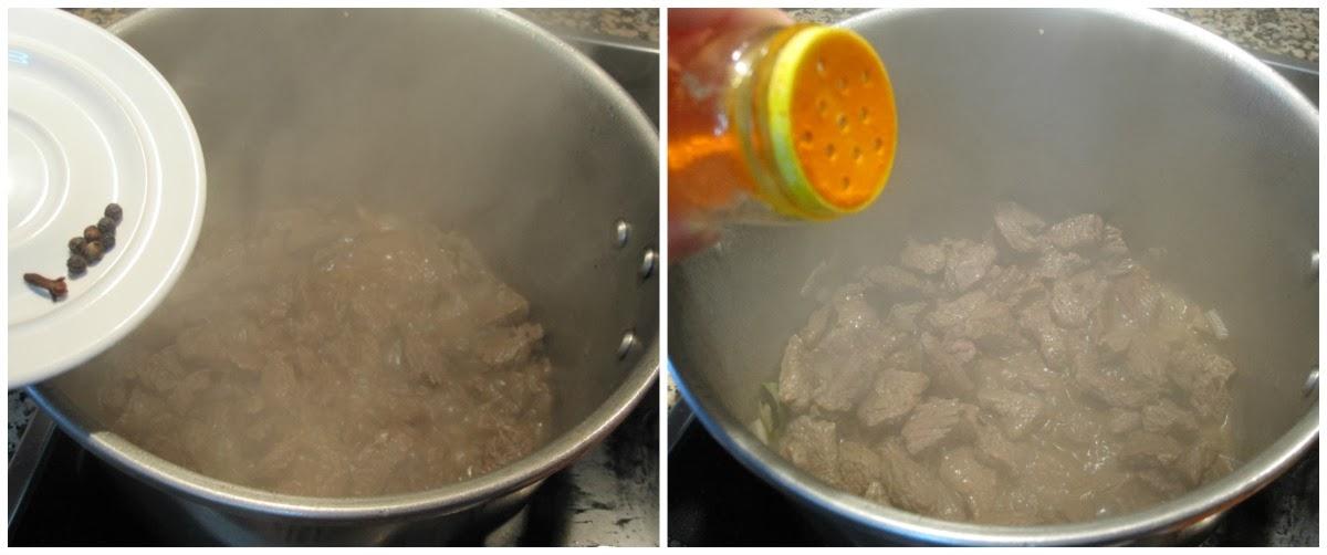 Se añade pimienta, clavo y colorante