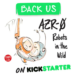 Back us on Kickstarter - AZR-0 Robots in the Wild  - Adorable characters hugging marker illustration by Cesare Asaro - Curio & Co. (Curio and Co. OG - www.curioandco.com)