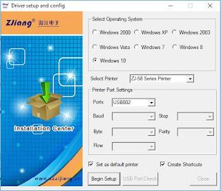 Tampilan instalasi driver printer zjiang