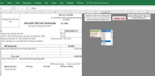 Quản lý các khoản thu công quỹ bằng Excel - NTsoft 2018