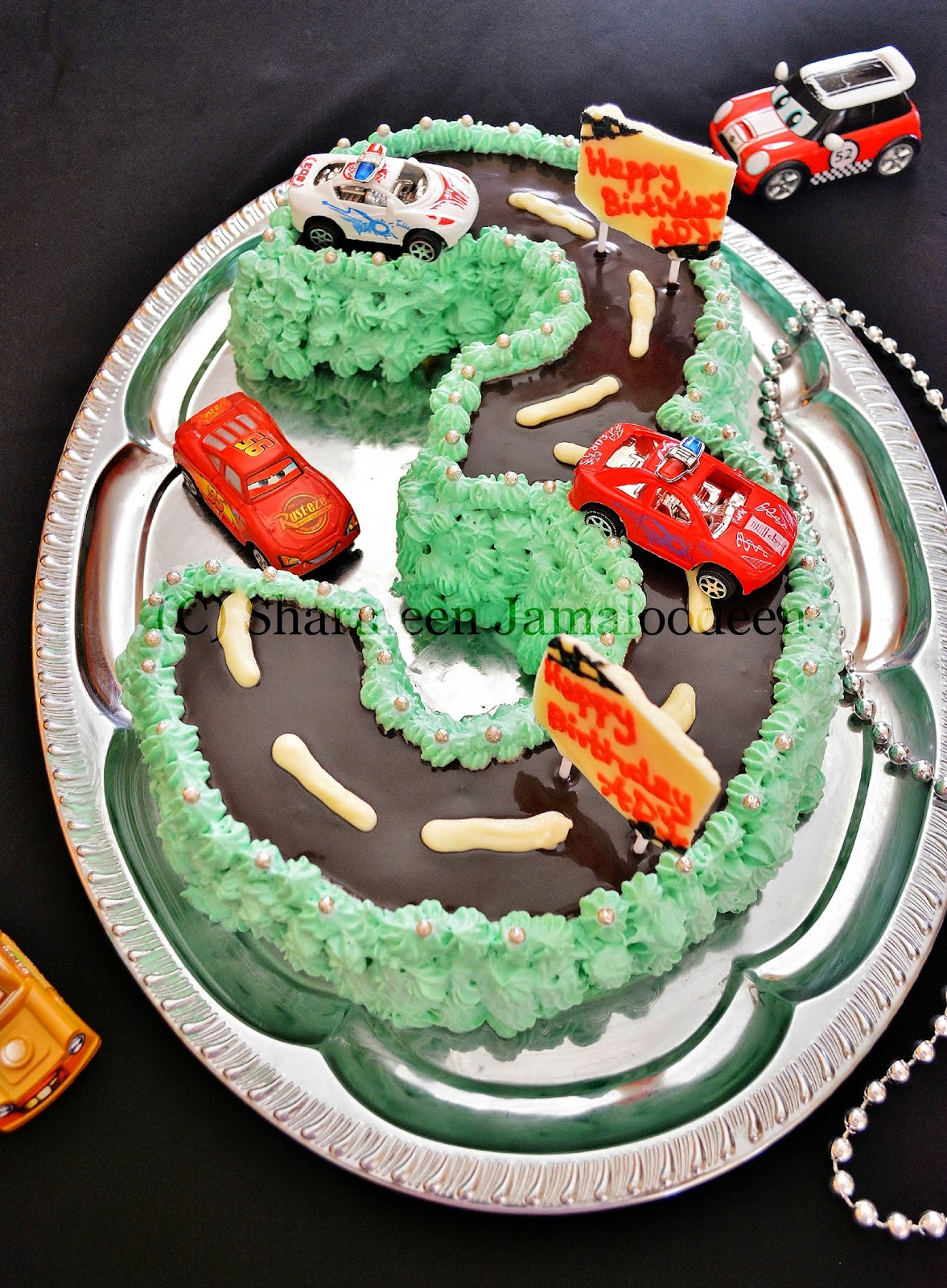 Number 3 Shaped Cars Themed Birthday Cake Happy To My Lil Man