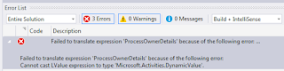 Cannot cast LValue expression to type Microsoft.Activities.DynamicValue