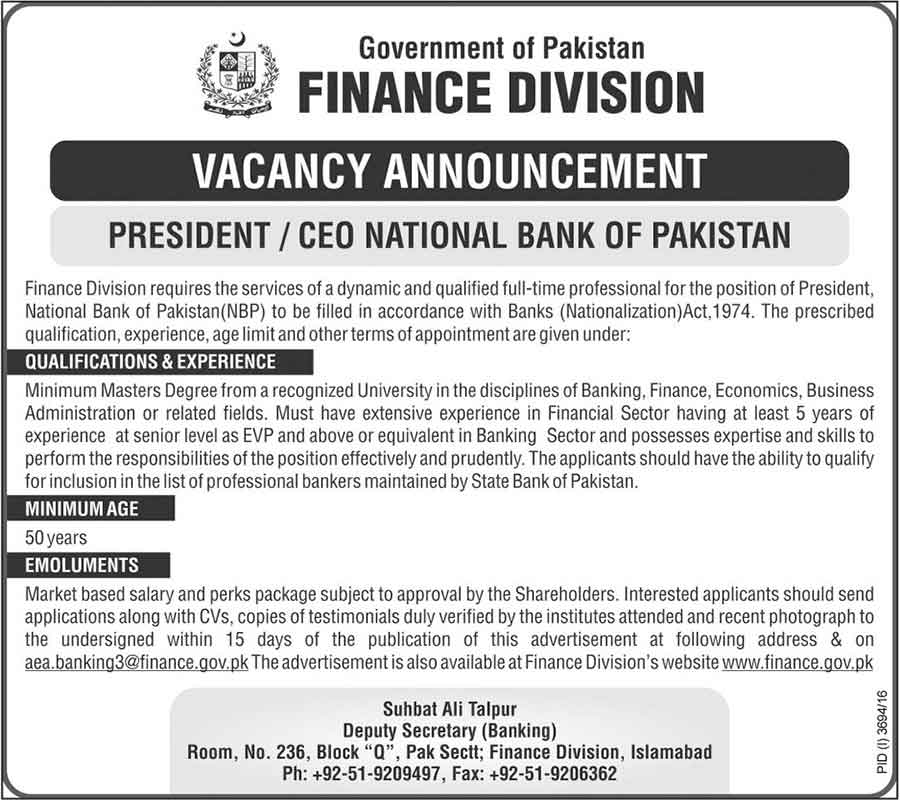 Jobs in Finance Division Government Islamabad Pakistan