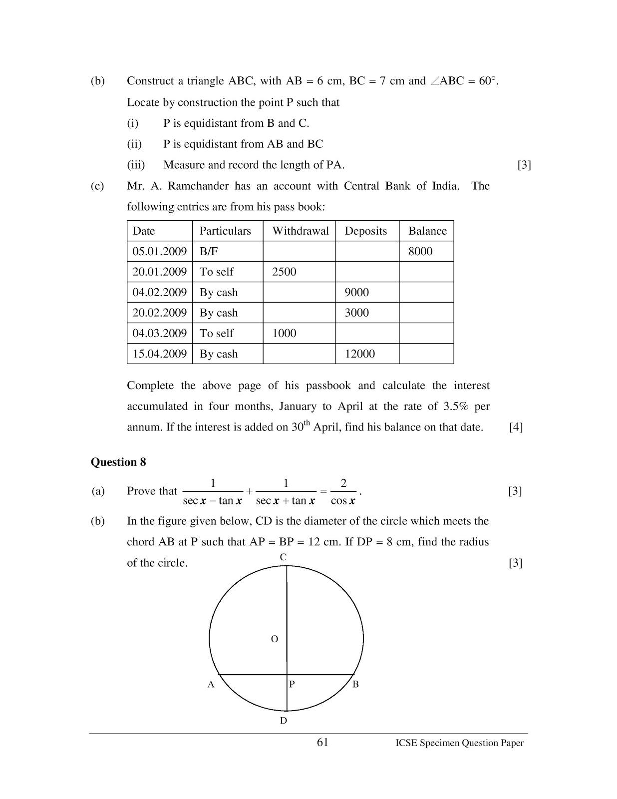 Maths Worksheet For Class 10th