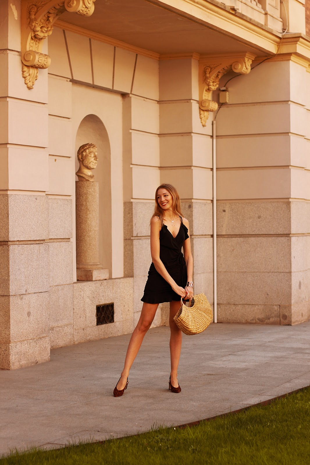 summer-little-black-dress-animal-print-slingbacks-raffia-bag