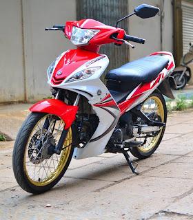 Exciter 2010 sơn phối màu trắng - đỏ