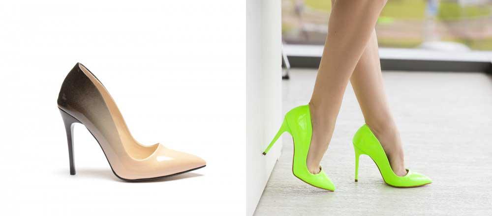 Pantofi ieftini lacuiti verzi, bej in degrade de ocazii cu toc inalt