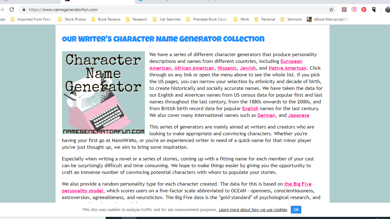 My Writer's Toolbox - 3 Online Character Naming Tools I Can