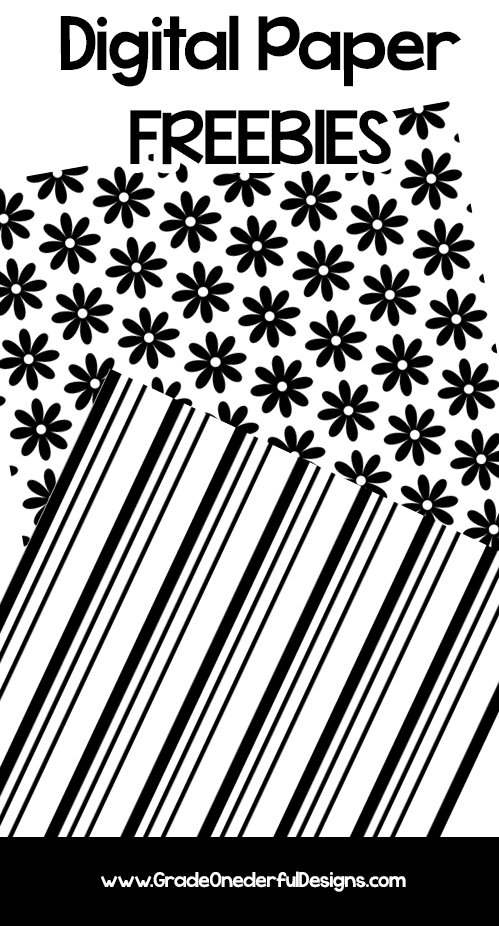 2 Free black and white digital papers. 12 by 12. By www.gradeonederfuldesigns.com