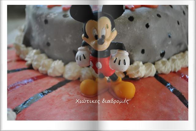 Τούρτα γενεθλίων με θέμα Club Mickey Mouse με ζαχαρόπαστα από μαρσμελοους