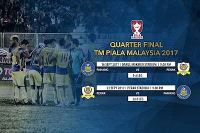 Live Streaming Pahang vs Perak Suku Akhir Pertama Piala Malaysia 16 September 2017