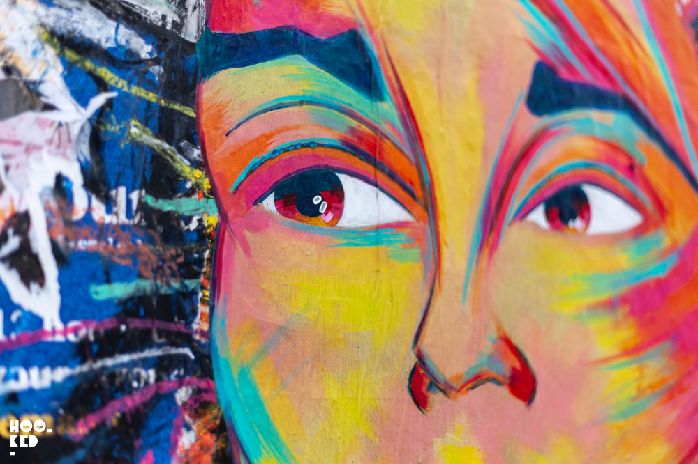 Close up detail of female portrait work by French Street Artist Manyoly