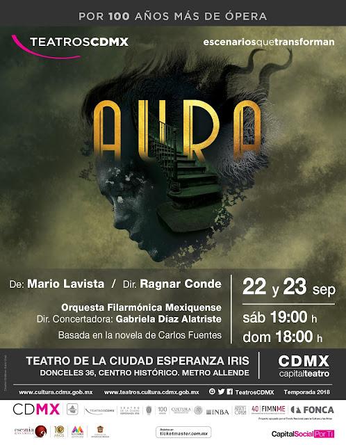 """Presentan ópera de Mario Lavista basada en """"Aura"""" de Carlos Fuentes en el Teatro de la Ciudad Esperanza Iris"""