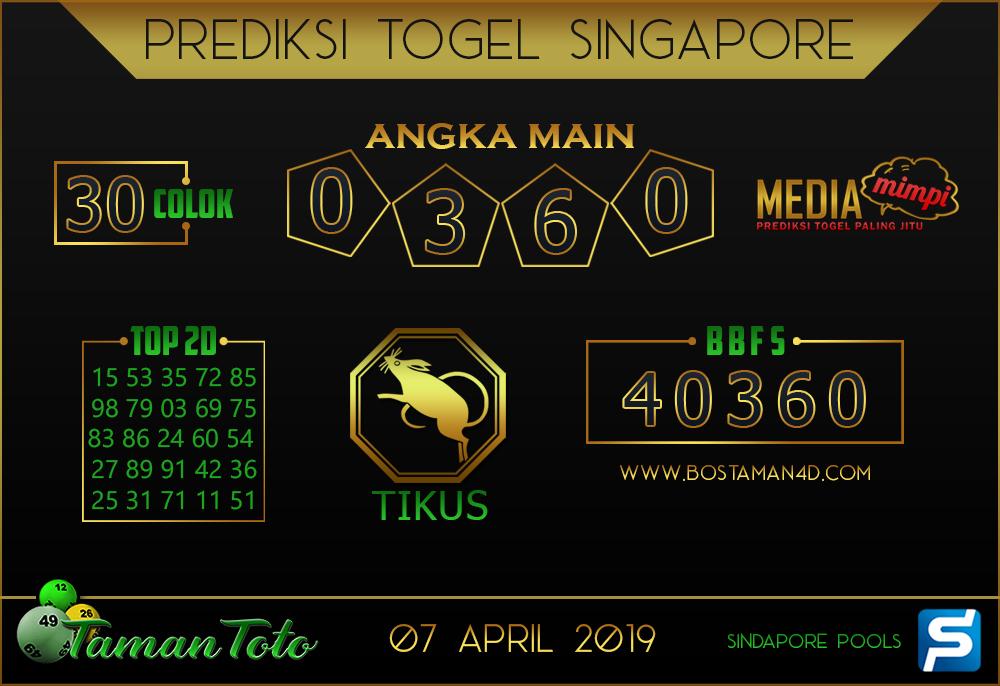 Prediksi Togel SINGAPORE TAMAN TOTO 07 APRIL 2019
