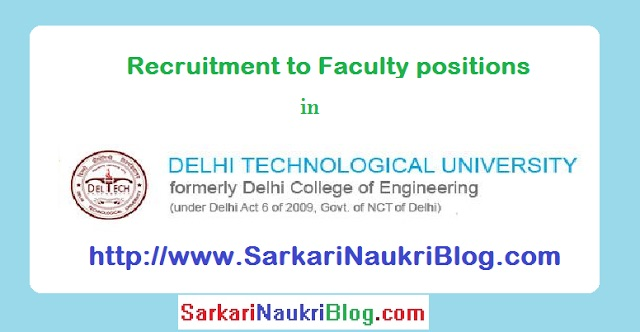 Faculty Recruitment DTU Delhi