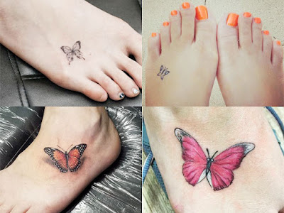 Small tattoos of butterflies on the foot For Women