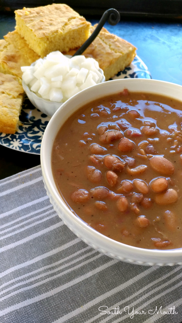 Slow Cooker Pinto Beans. These beans cook up creamy and tender with a smoky, silky  sauce that's perfect with cornbread. Recipe for crock pot and stove top preparation.