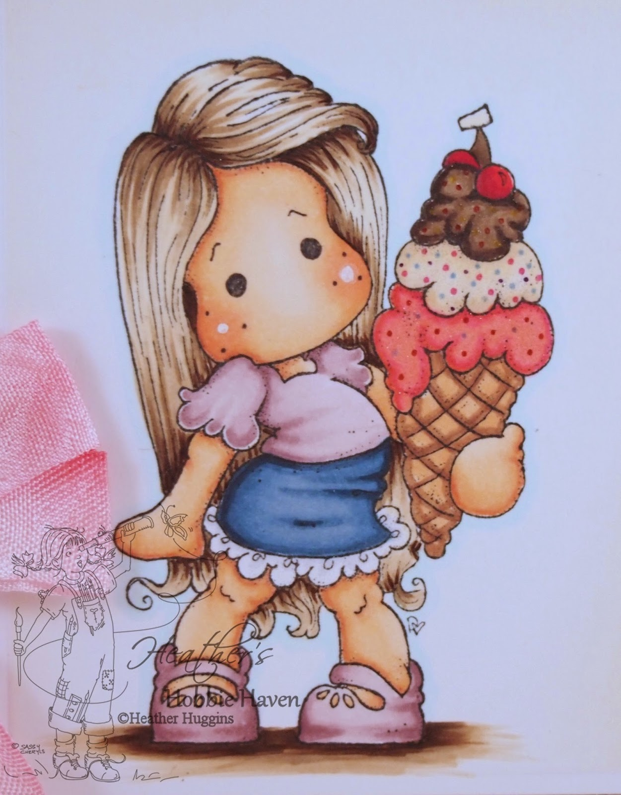 Heather's Hobbie Haven - Tilda with Cherry Ice Card Kit