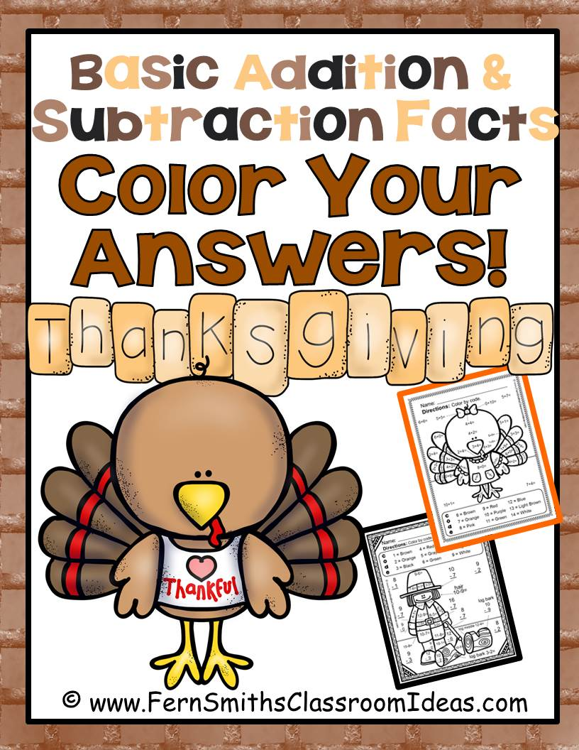 Thanksgiving Fun! Basic Addition and Subtraction - Color Your Answers Printables, click here to see BOTH addition and subtraction!