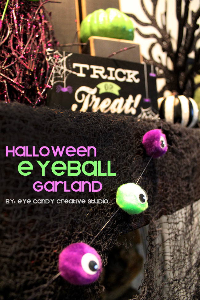 hang grland on mantel for halloween, halloween craft idea, pom poms