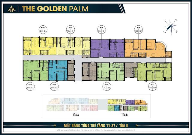 Mặt bằng thiết kế tầng 11 - 27 tòa B chung cư The Golden Palm