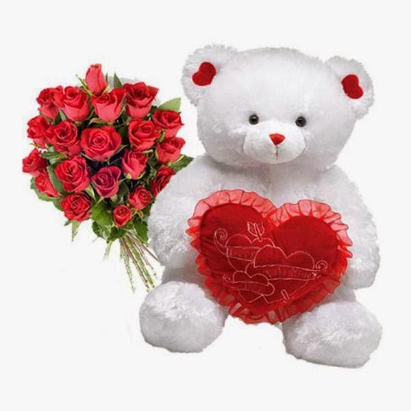 Gratis boneka beruang putih bawa bantal love dan bunga warna merah