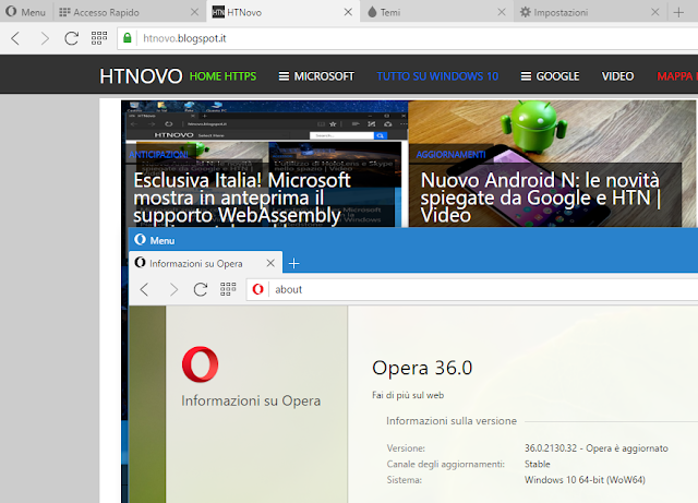 Opera Browser si aggiorna con pieno supporto a Windows 10