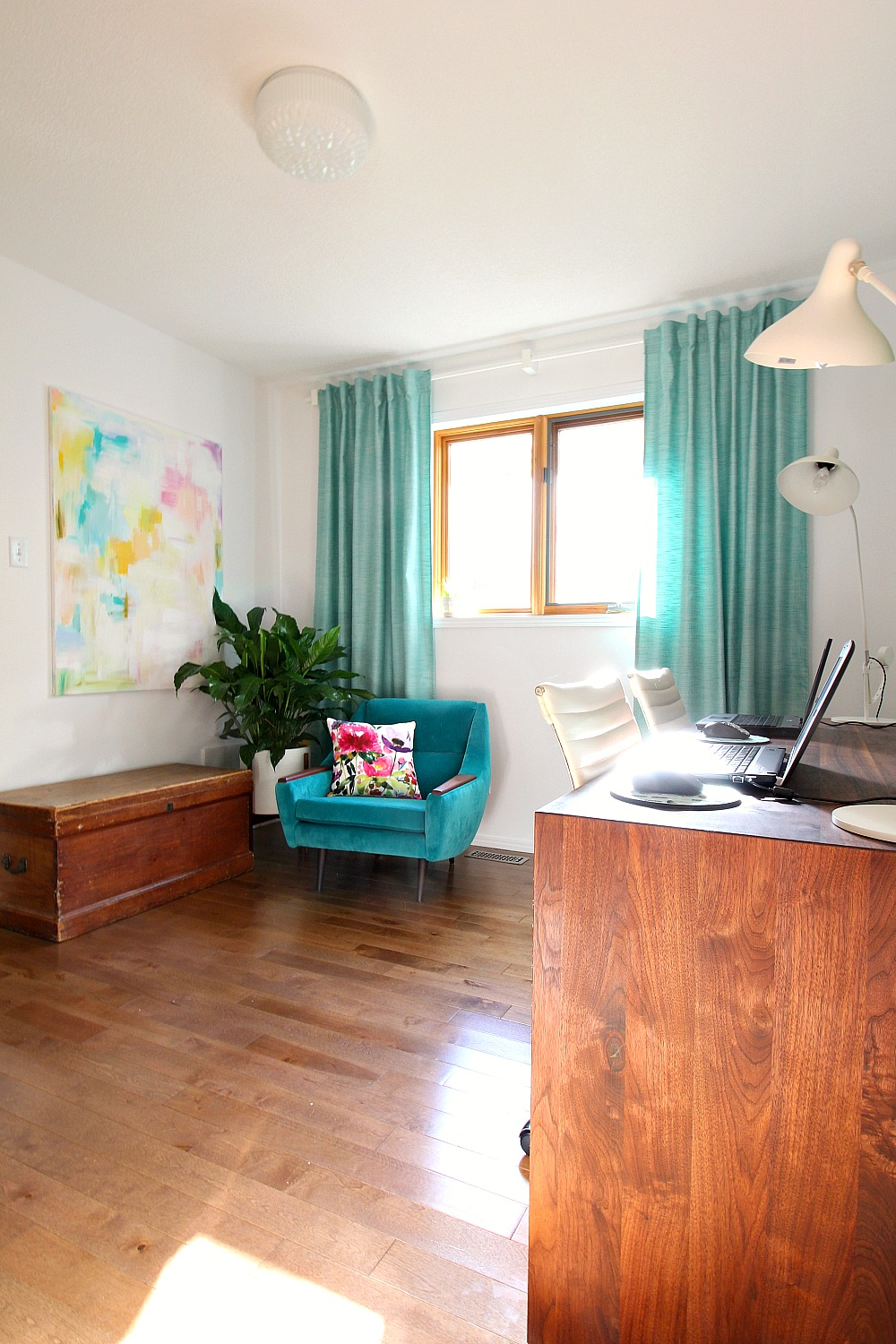 ikea ceiling chair folding upgrade home office makeover with a colorful, mid-century modern inspired look   before + after dans ...