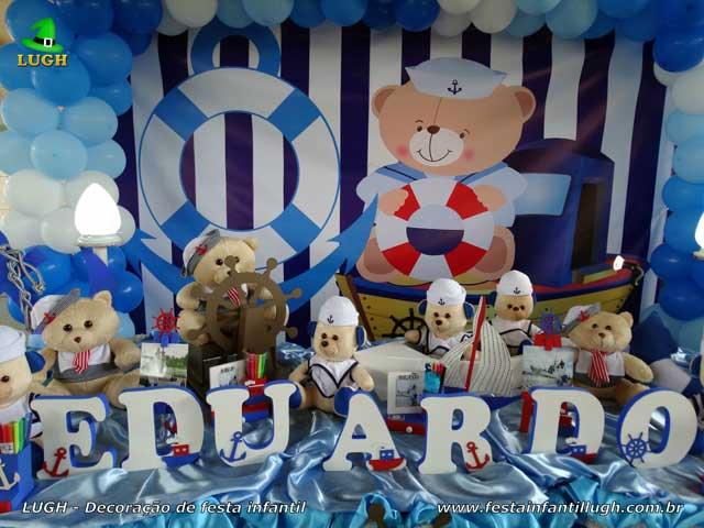 Mesa decorativa Ursinho Marinheiro - Decoração de aniversário - Festa infantil
