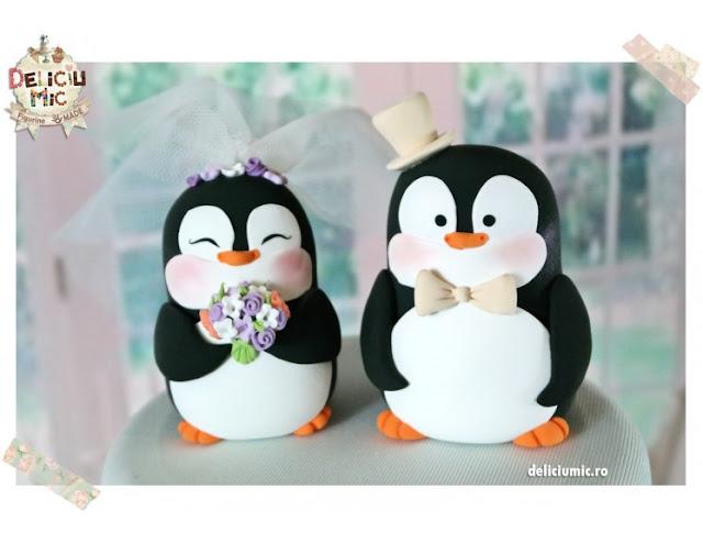 figurine tort nună pinguini