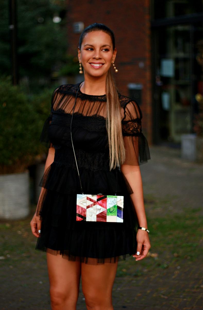 Tamara Chloé, Black mesh zara dress, Zara graphic print box bag, Africa Fashion Week Europe, Amsterdam, AFWEU