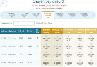 Vé máy bay giá rẻ đi Vinh tháng 7