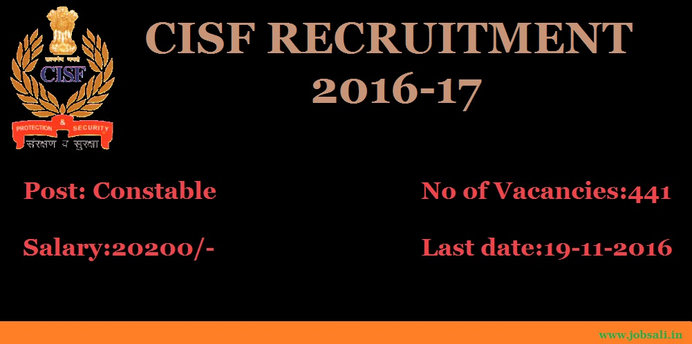 Cisf constable Recruitment 2016, CISF Posting, Latest Government jobs
