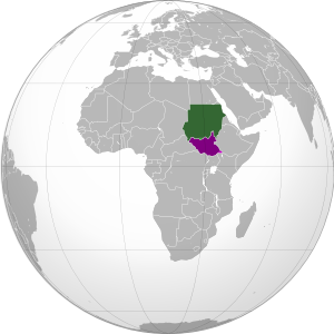 Map showing location of Sudan and South Sudan on a globe.