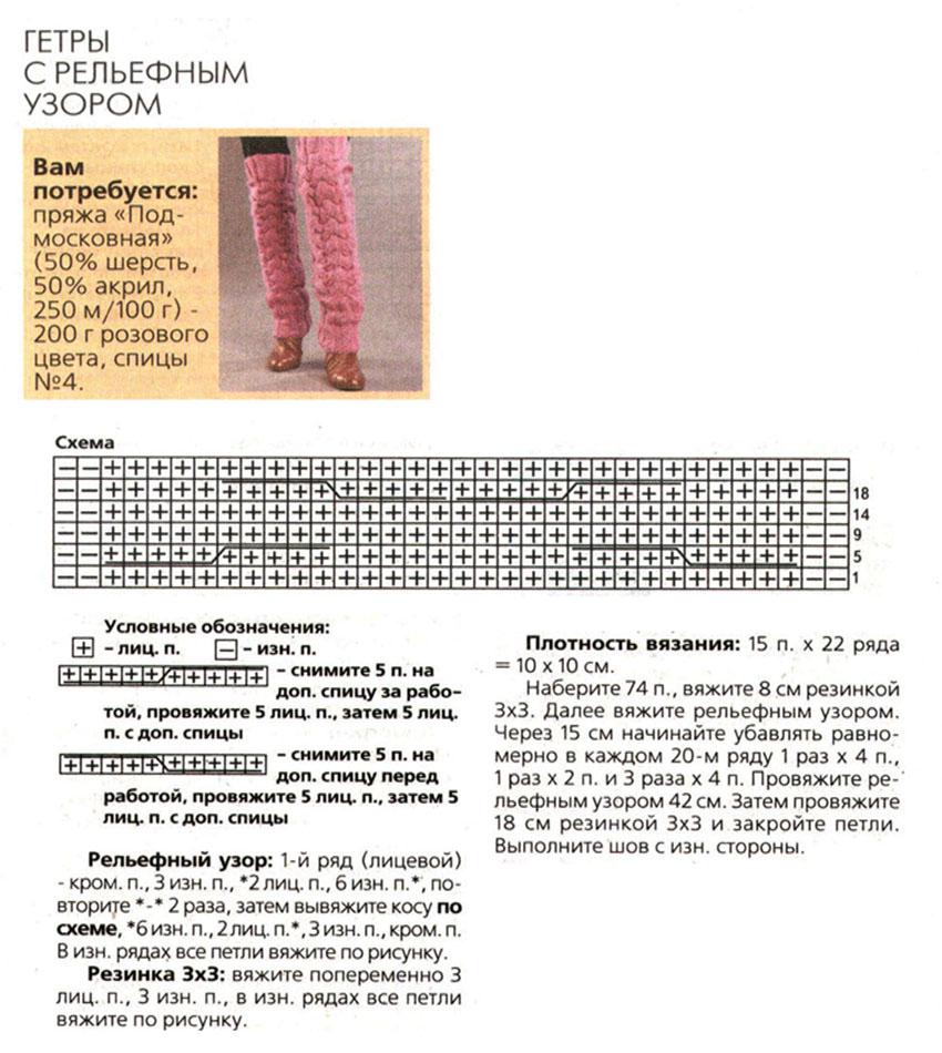 гетры схема вязания на спицах