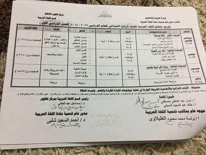 """توزيع مناهج مادة اللغة العربية لجميع صفوف المراحل """" الابتدائية والاعدادية """" للعام الدراسى 2017 / 2018"""