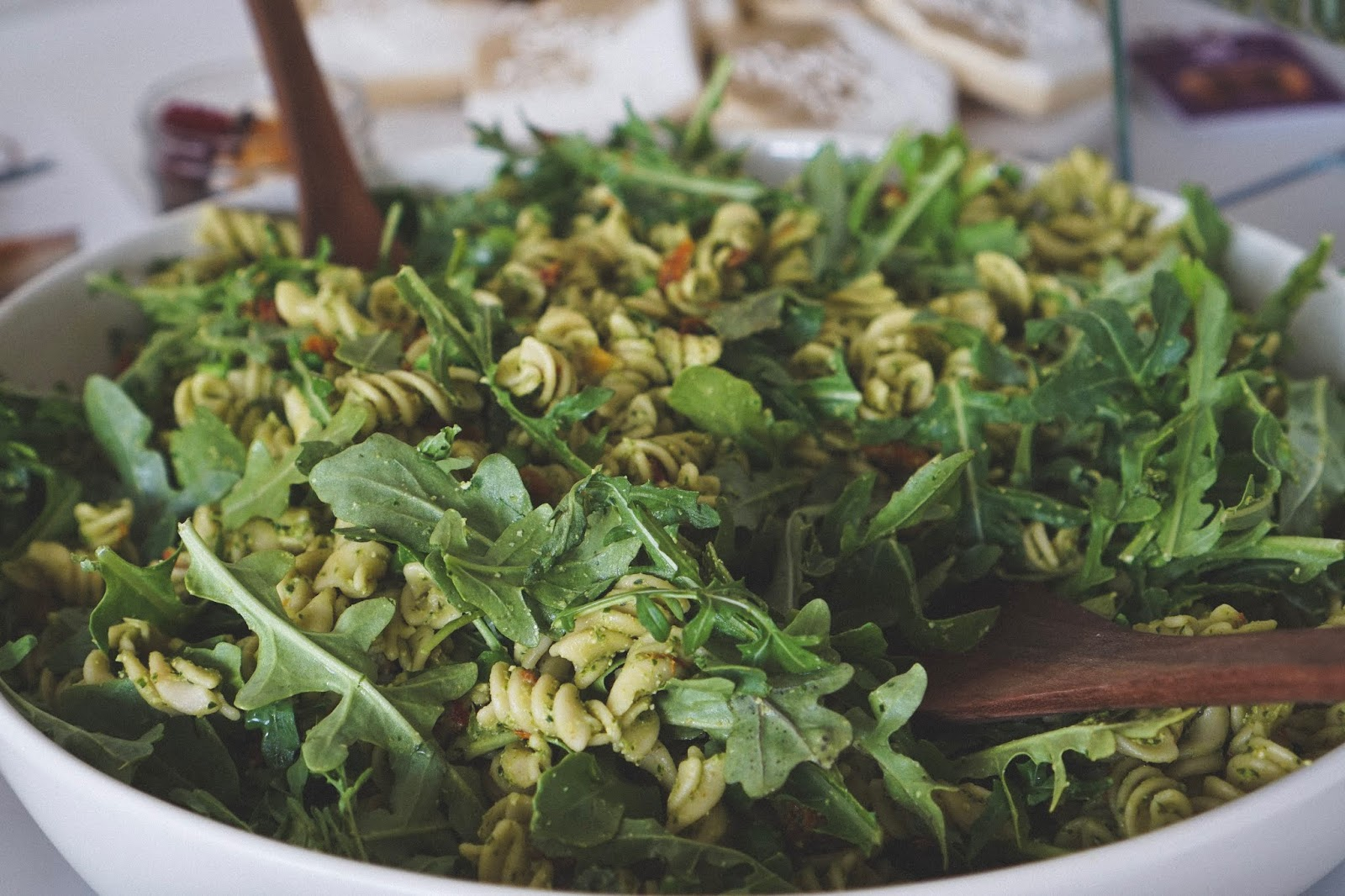 Gluten Free Vegan Pesto Pasta Salad with English Peas, Sundried Tomatoes and Arugula